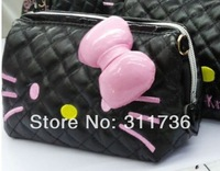 New 2014 Girls Women Cosmetic Bags Hello Kitty Clutch Organizer Bag Case Purse Two Colors Black - S