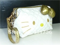 New 2014 Girls Women Cosmetic Bags Hello Kitty Clutch Organizer Bag Case Purse Two Colors Gold - S