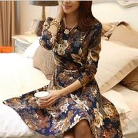 2014 New Fashion Spring Autumn Women Elegant Korean Long Sleeve Floral Print Knee-Length Sexy High Street Casual Dress S-XXL