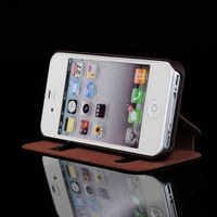 Free Shipping hot sales for iphone 4s case  leather case  carrying cover Flip window  case black
