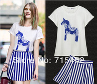 New 2014 retail t-shirt =skirt summer fashion small fresh stripe  casual women sets free shipping