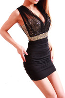 New 2014 Summer Black Gauze Paillette Bsic Slim Hip Sexy Dress Bodycon Mini Women Dresses S M L XL