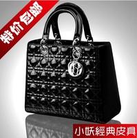 Double 12 women's handbag genuine leather lady handbag women's first layer of cowhide women's handbag japanned leather