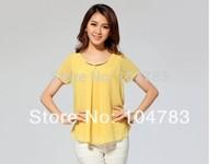 women fashion chiffon middy shirt   yellow color new  lady short sleeve coat  free shipping