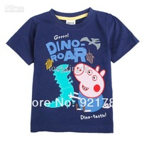Wholesale - C4032# Blue Nova Kids summer wear 18m-6y boys t shirt cartoon clothing George Peppa Pig & Dinosaur embroidered cotto