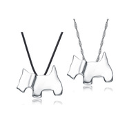 Wholesale for 100% Genuine 925 Sterling Silver Lovers' Dog Pendant Necklaces - 2PCS/1PAIR,Top Quality (X0203&G0016&Z0011)