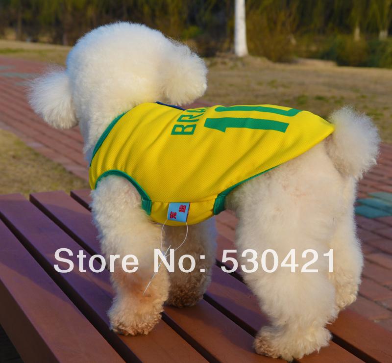 Free shipping 10 Sizes 2014 Soccer World Cup Dog Pet Clothing Fabric Sports Vest (Brazil)(China (Mainland))