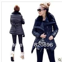 Free Shipping New Original 2014 Natural Fur lapel cotton-padded clothes autumn winter outwear Fashion Women Medium-long jacket