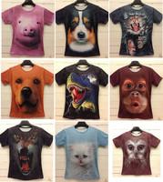 Fashion Animal Print 3D T shirt 3D Funny Animal Pug Tiger Pig Wolf Dragon Owl Face Print Tshirt Man Z004