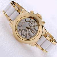 2014 New style Kors watches white red purple alloy  Luxury Brand Women Ladies dress watches clock Quartz WristWatch