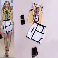 Fashion 14 ruslana korshunova women's guitar abstract print sleeveless top slim high waist hip skirt set