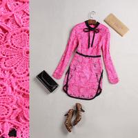 Luxury fashion 2014 women's color block lace slim one-piece dress