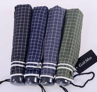 Folding Male Umbrella Yarn dyed plaid full alloy small      Umbrellas Free Shipping