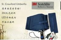 Folding Male Umbrella Personalized led flashlight   women's fully-automatic  reflective strip  Umbrellas Free Shipping