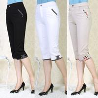 Quinquagenarian 100% cotton capris pants mother clothing plus size casual pants summer women's knee length trousers