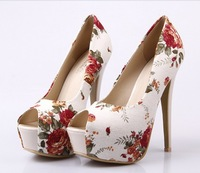 Dropshipping New Arrival Super High Heel Floral 15Cm Open Toe Shoe Sexy High Heel Platform Pumps Lady Sandals 3 Colors B153-1