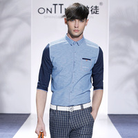 mens summer cotton casual shirts 2014 men wear patchwork luxury shirt tops 1/2 sleeve men's clothing moda blusas masculinas
