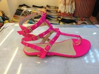 2014 New Fashion Bargain Price Europe and America rivets flat thong sandals two kind three color  free shipping