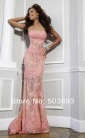 Free shipping pink evening dresses 2014 lace evening dress elie saab zuhair murad evening dresses long dress formal evening gown
