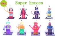 New Western Animiation Classic Toys Super hero Avengers Flash/Batman/Clown/Wonder woman/Odin Star wars DIY Action Figure Block