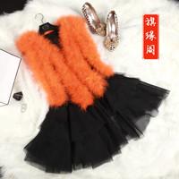 2014 New Style Women Fashion Ostrich Fur Vest Ostirch Wool Turkey Fur Vest Medium-long Vest With Lace 7 Color For Sale