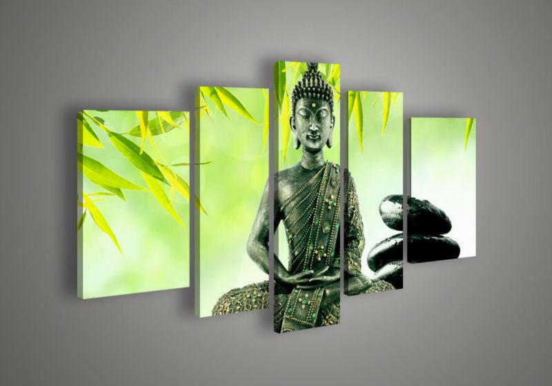 5 painel Wall Art religião buda verde pintura a óleo sobre tela moderna nos decorativa acrílica obra(China (Mainland))