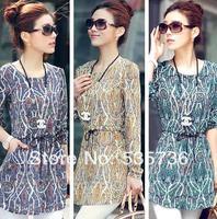 2014 hot sale new plus size clothing medium-long basic shirt long-sleeve top shirt chiffon shirt female 8618