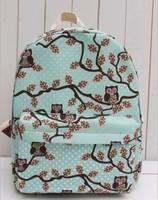 2014 OWL printed backpack children backpack women travel bag girl cartoon bag brand shoulder bag canvas school backpack SD50-100