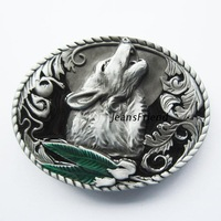 Drop shipping Wolf Howling Belt Buckle Wolf Howling At the Moon Western Belt Buckles antique finish & Enameled