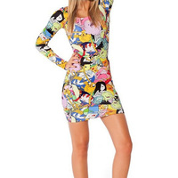 Plus Size Womens Black Milk Adventure Time Print Dress 2014 Sprint & Autumn New Fashion Long Sleeve Sexy Dresses for Women