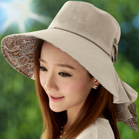 Hat female summer sun hat folding anti-uv sunbonnet large outdoor beach hats sun protection