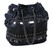 Fashion sheepskin 2014 punk skull rivet chain tassel drawstring bucket women's handbag