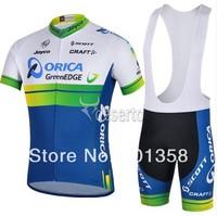 2014 GreenEDGE ORICA short Sleeve Cycling clothing+bib shorts racing bike wear Size XS-4XL 3d coolmax padded accept customized