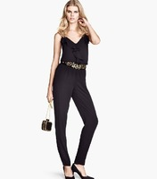 Fashion Jumpsuits Ruffle V-neck strap Overalls elastic adjustable shoulder strap taper trousers Plus size XS-XXL