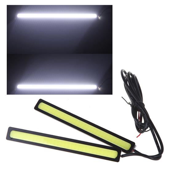 2*14cm 4W COB DRL Car LED Light Daytime Running Fog Lamp Light Bar White 12V(China (Mainland))