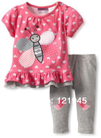 retail 18M~6T new 2014 brand baby children clothing sets cotton 2pcs set baby girl polk dot flower T-shirts and shorts set 2357