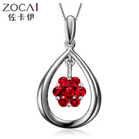 ZOCAI PROTECT YOU FOREVER 0.3 CT CERTIFIED RUBY 18K WHITE GOLD PENDANT 925 STERLING SILVER CHAIN NECKLACE AS GIFT
