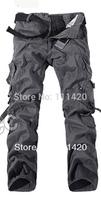 2014 New Multi Pockets Men's Cargo Pants Cotton Men's Pants Work Wear Military Large Size Men Trousers Army Style Plus Size