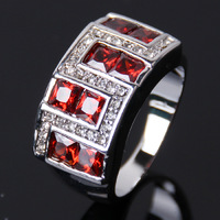 Size 8 10 Men's 10KT White Gold Ring NO28 Red Sapphire Ring Gift Free Shipping