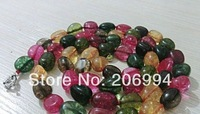 "factory price Charming 10x16mm Multicolor irregular Tourmaline Necklace 34 "" Single Strand fashion jewelry"