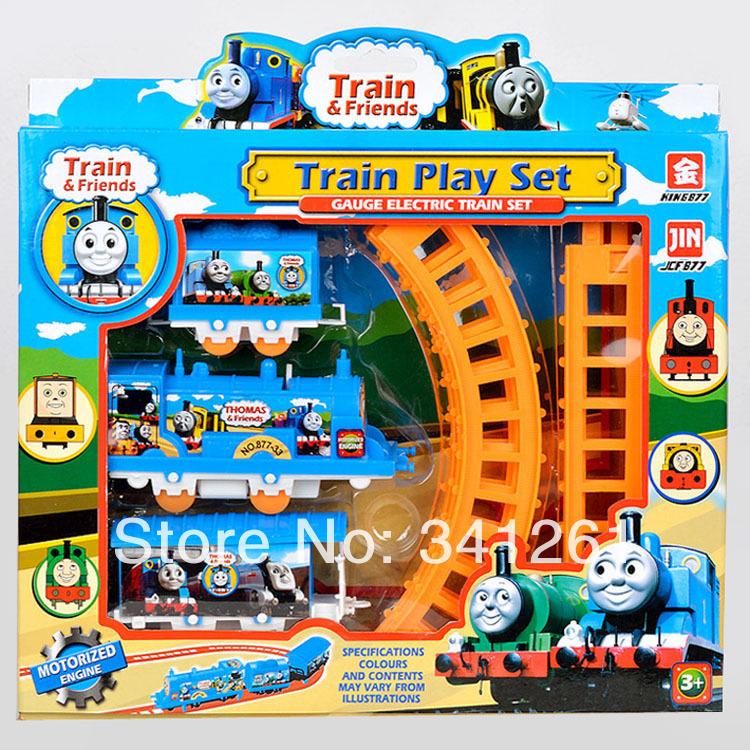 Thomas train track tomas electric train set Baby educational toys Small electric splicing rail train birthday