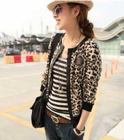 2013 women's hot-selling autumn black thread hemming cuff cool leopard print coat w142  free shipping