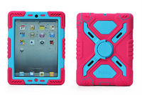Factory Outlet Pepkoo Silicone Water Dirt Shock Proof Sand Dust Proof Sticker Kickstand Case For iPad 2 3 4 Free shipping