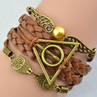 Min. is 10$ Antique Bronze harry potter magic hallows bracelet, harry potter bracelet, owl wing bracelet