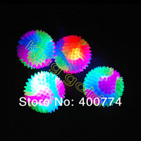 Flashing led stress ball pet toys for dog led bouncy ball colorfull rainbow ball for children TPR  barbed 6 piece of ball