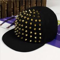 High Quality Jazz Hat Snapback cap Men/ Women Spike Studs Rivet Cap Hat Punk style Rock Hiphop Cap For Pick YSM-004