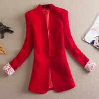 Free Shipping 2014 Spring And Autumn Fashion Women Medium-long Slim Lace Cuff Blazer Female Long-sleeve Women Coat Outerwear