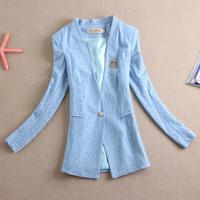 Free Shipping New 2014 Spring Fashion Women Plus Size Lace Slim One Button Blazer Outerwear Female Long-sleeve Blazer Women Coat