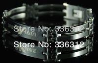 BA-11023 silver stainless steel bracelet mens womens brand bangle chain inlay Italy designer black logo word 1.0cm wide hot gift