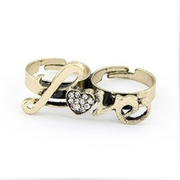 2014 The Fashion Rhinestone LOVE Letters Brown Adjustable Women Ring
